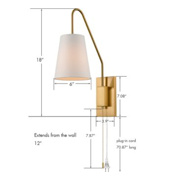 Modern Brass Wall Lamps Set of 2 Plug-in Wall Lights