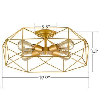 Modern Ceiling Light Fixtures Geometric Brass, 4-Light