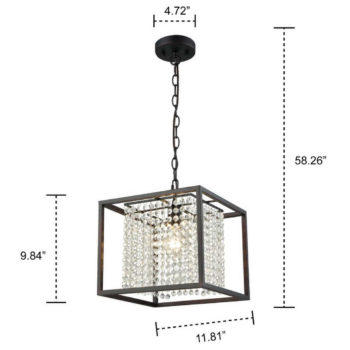 Crystal Pendant Chandelier for Dining Room with Black Metal Cube