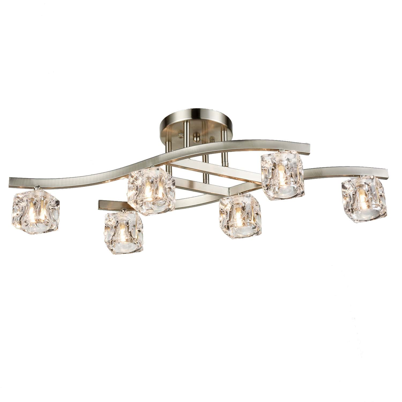 Modern Brushed Nickel Ceiling Light Glass Ice Cube Shade - 6 Light
