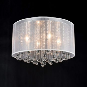Modern Crystal Ceiling Light Flush Mount Chrome Drum Shade