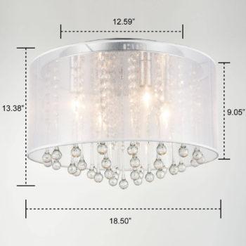 Modern Crystal Ceiling Light Flush Mount Chrome Drum Shade
