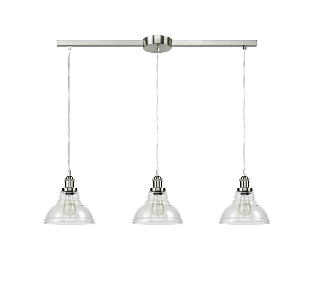 Industrial Kitchen Island Pendant Lights Barn Shape Brushed Nickel Finish