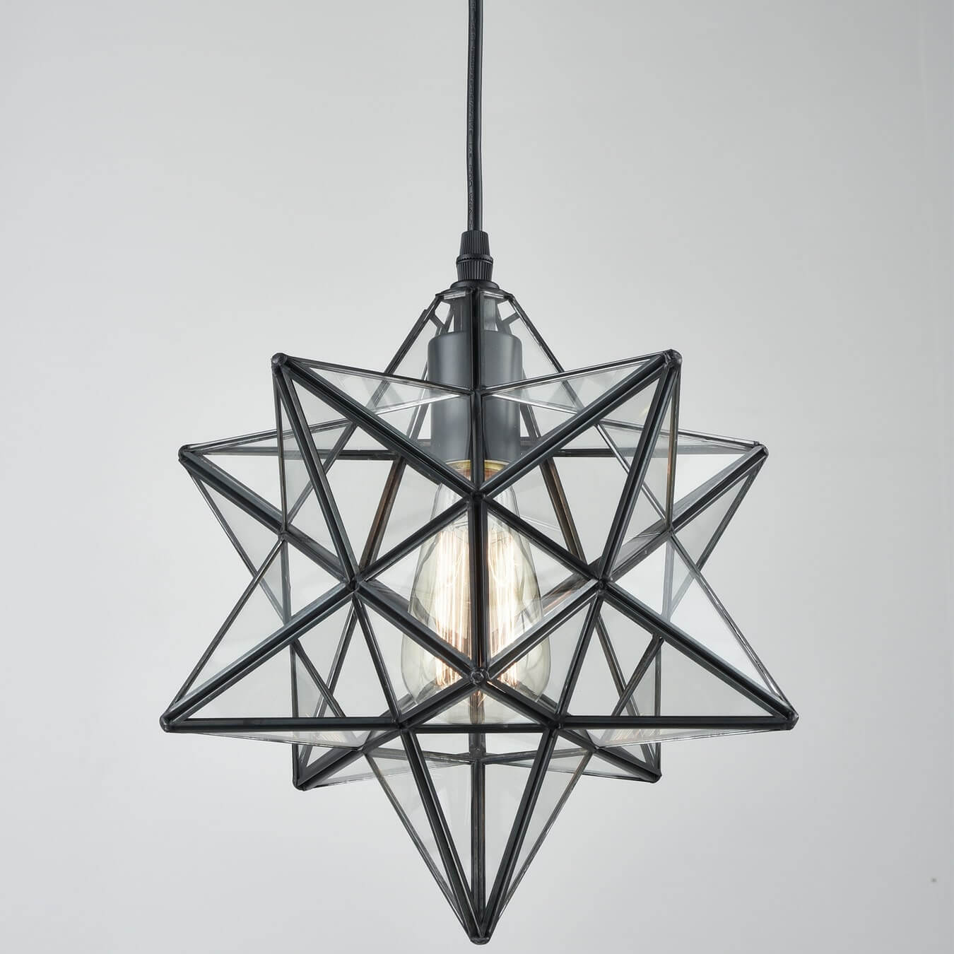 Moravian Star Pendant Lights Clear Glass Shade, 12''