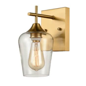 Modern Clear Glass Wall Sconces Brass Bathroom Wall Lights