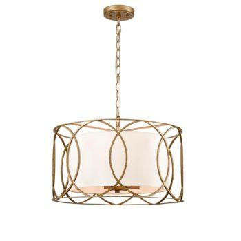 Modern Drum Chandelier Brass Fabric 3-Light Dining Room Pendant