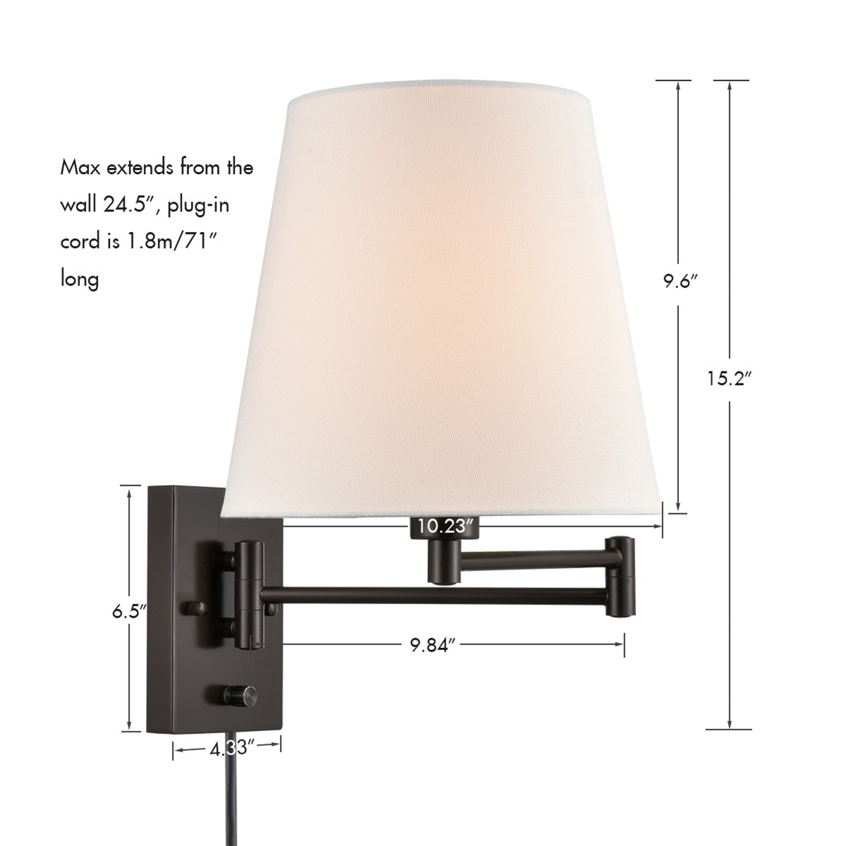 Modern Fabric Plug-In Wall Lamp with Switch Set of 2