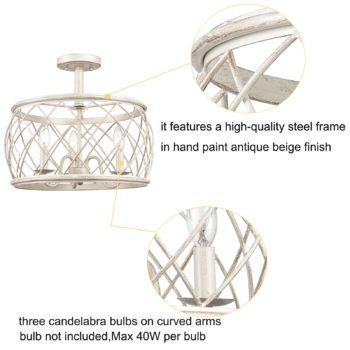 Modern Farmhouse Drum Semi Flush Ceiling Light Metal Cage Shade