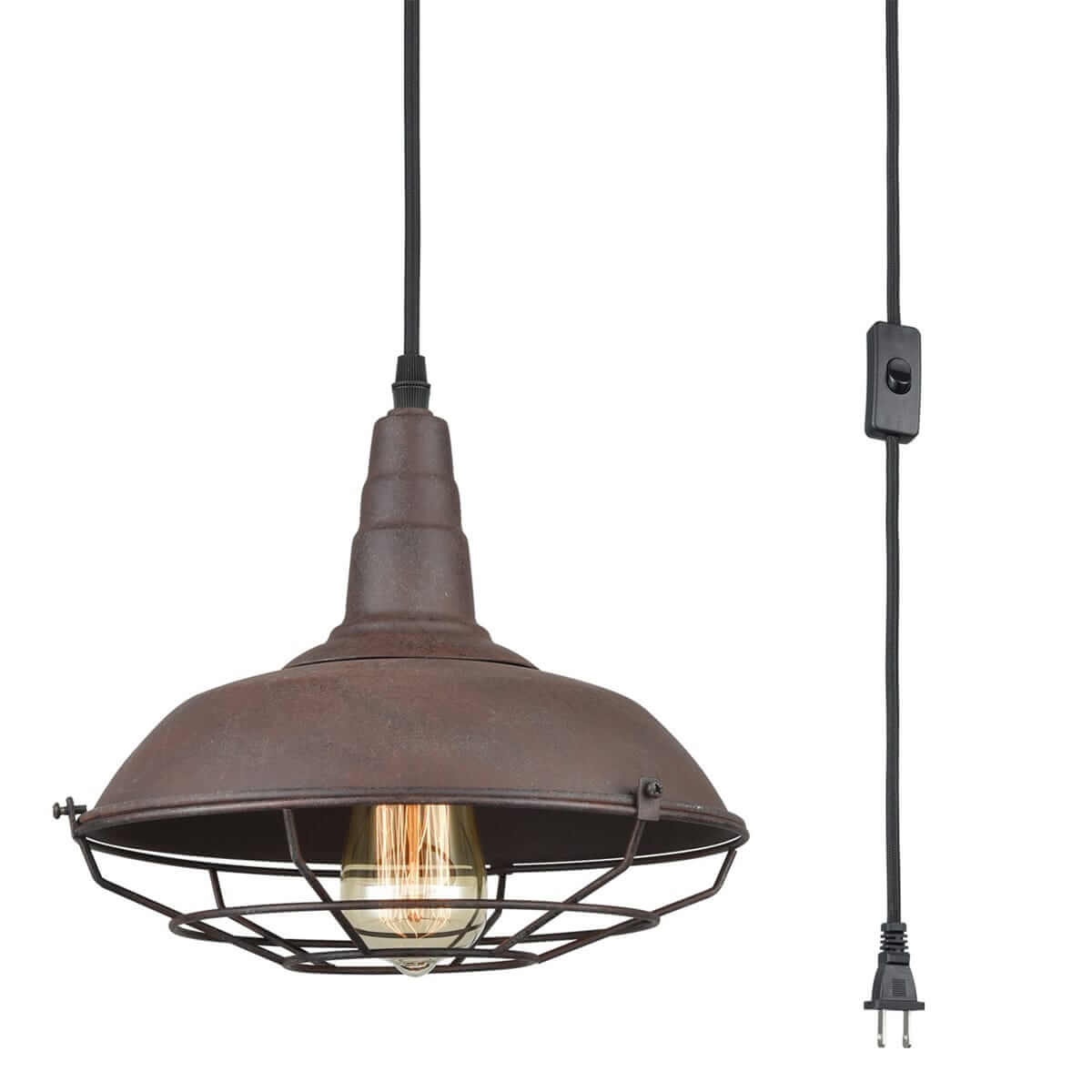 Farmhouse Plug-In Pendant Light Rust Finish with Metal Cage Shade