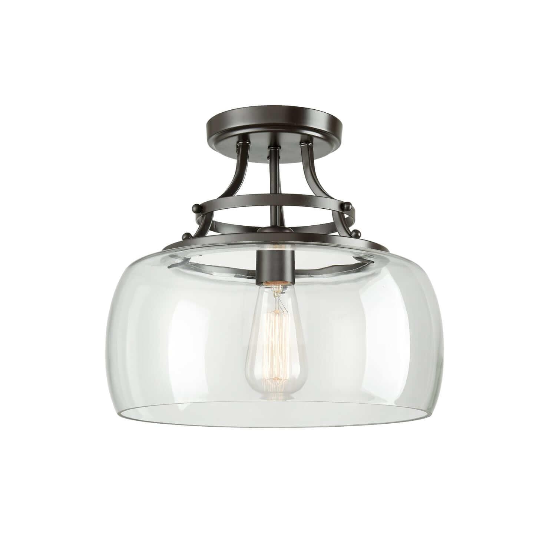 Bronze Semi-flush Mount Ceiling Light Glass Dome Fixture