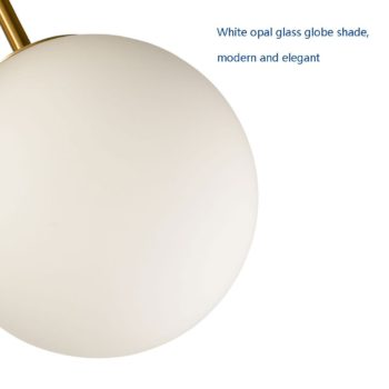 Mid Century Brass Sputnik Ceiling Light Opal Glass Shades 3-Light