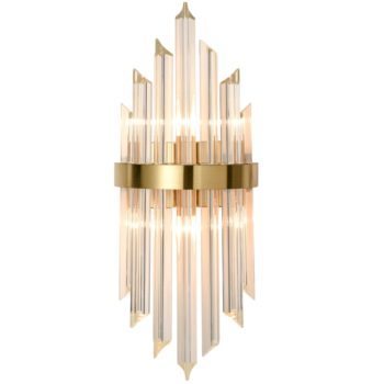 Modern Gold Brass Glass Crystal Wall Sconce Set of 2
