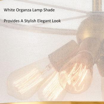 Modern Gold Drum Ceiling Light Organza Lamp Shade 6-Light