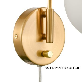 Modern Gold Wall Lamp Brass Finished Plug in Glass Wall Light