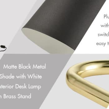 Modern Metal Black Desk Lamp with Triangle Brass Stand
