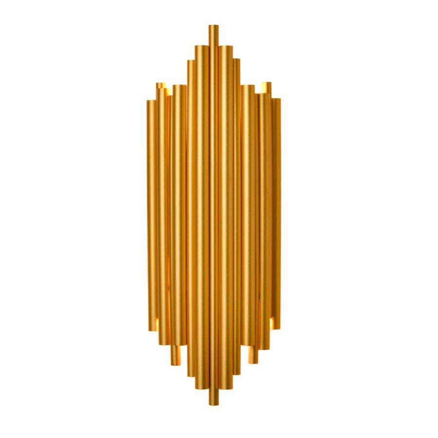 Modern Metal Wall Lamp 2-Light Brass Wall Sconce