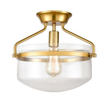 Modern Mid-Century Gold Clear Glass Ceiling Lights Brass
