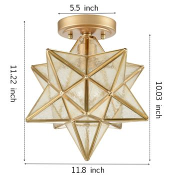 Modern Moravian Star Ceiling Light with Seeded Glass 12 inches Brass
