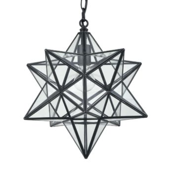 Modern Moravian Star Pendant Lights Clear Glass Shade, 16 inches