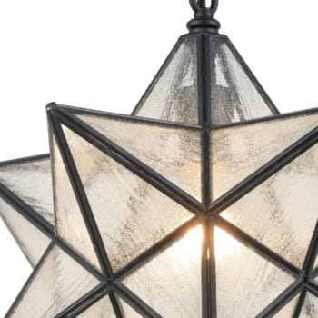 Moravian Star Pendant Lights Seeded Glass Shade, 16 inches