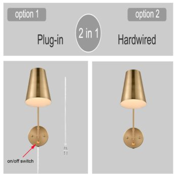 Modern Yellow Gold Wall Mount Plug-in Wall Lights Set of 2