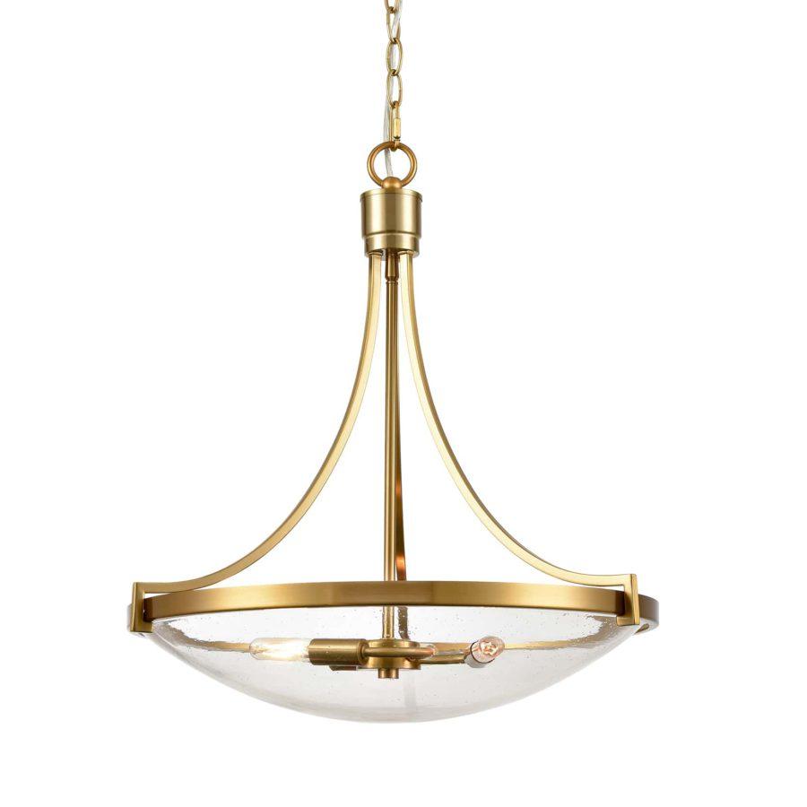 Modern Seeded Glass Pendant Light Brass Finish-3 Light