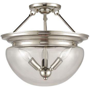 Modern Semi Flush Ceiling Light 3-Light Clear Glass Shade