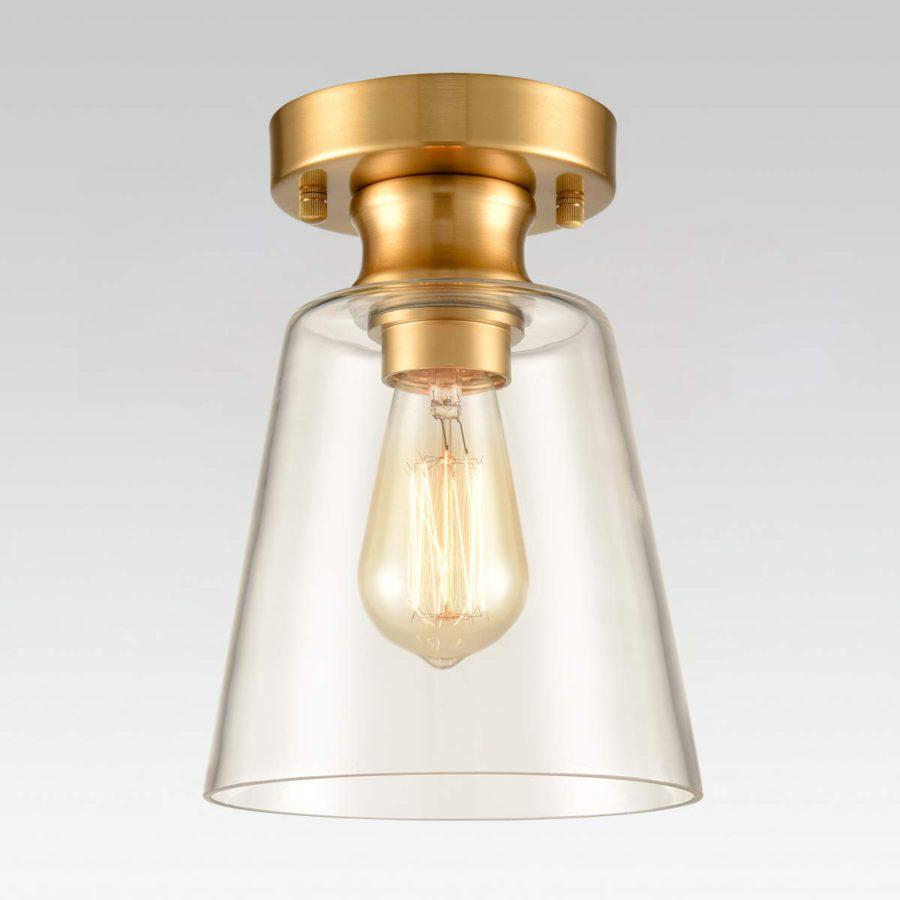 Modern Semi Flush Ceiling Light Brass Fixture with Bell Clear Glass