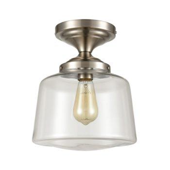 Modern Semi Flush Ceiling Light, Schoolhouse Clear Glass