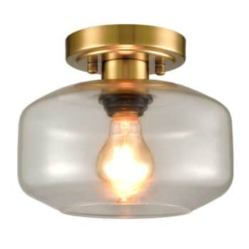 Modern Semi Flush Ceiling Lights Open Glass Drum Shade