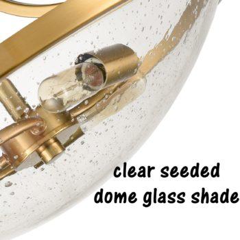 Modern Semi Flush Mount Ceiling Light Warm Brass Seeded Glass Shade