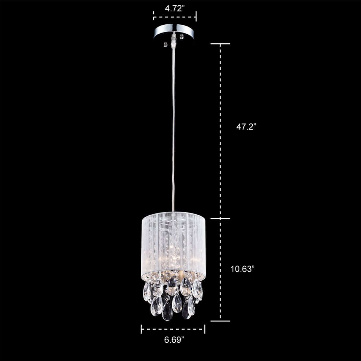 Modern Drum Shade Crystal Pendant Lighting, Silver String