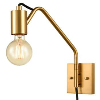Modern Swing Arm Plug-in Wall Sconces Set of 2, Brass