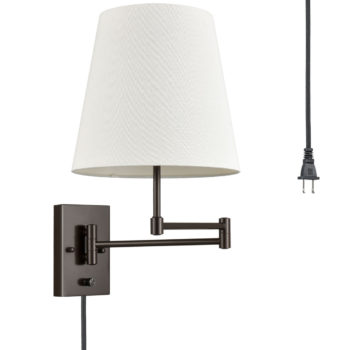 2-Pack Modern Fabric Plug-in Wall Lights Swing Arm Wall Lamps