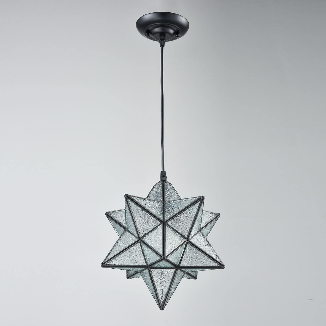 Moravian Star Pendant Light with Textured Glass Shade, 12''
