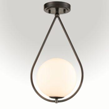 Modern Globe Opal Glass Semi Flush Ceiling Light Oil Rubbed Bronze