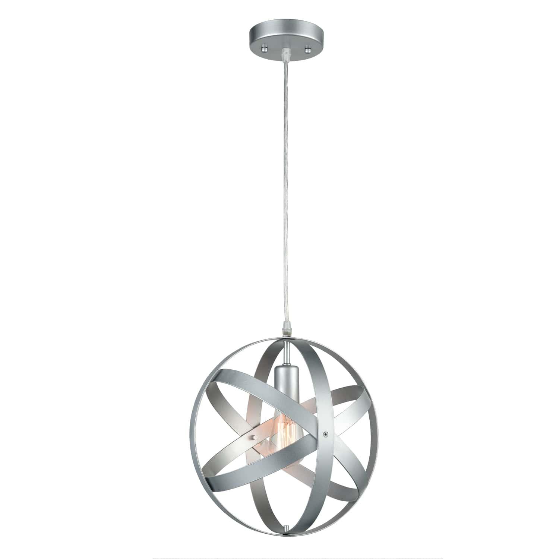 Modern Globe Pendant Light Silver Gray Kitchen island Lights