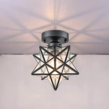 Industrial Moravian Star Ceiling Light with Seeded Glass 8 Inches