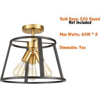 Mordern 3-Light Semi Flush Mount Ceiling Light Brass and Black