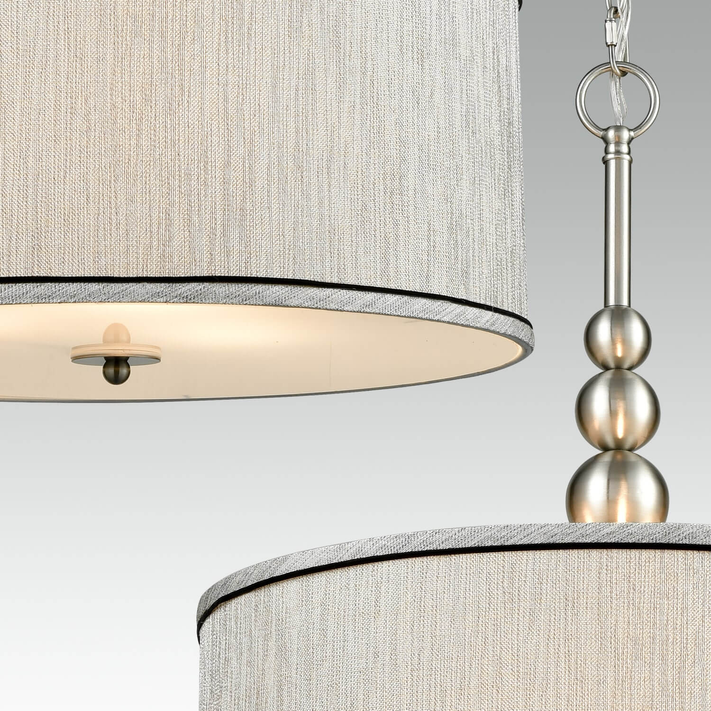 Modern Brushed Nickel Pendant Chandelier Fabric Drum Shade