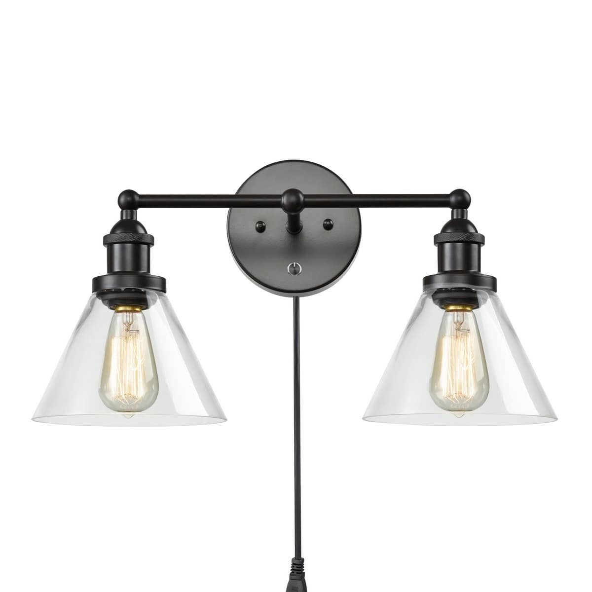 Oil Rubbed Bronze Plug in Wall Lights 2 Light Glass Sconce