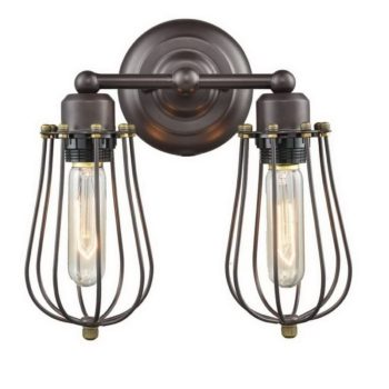 Industrial Oil Rubbed Bronze Wire Cage Wall Sconce-2 Lights