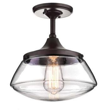 Bronze Semi Flush Mount Ceiling Light Glass Schoolhouse Fixture