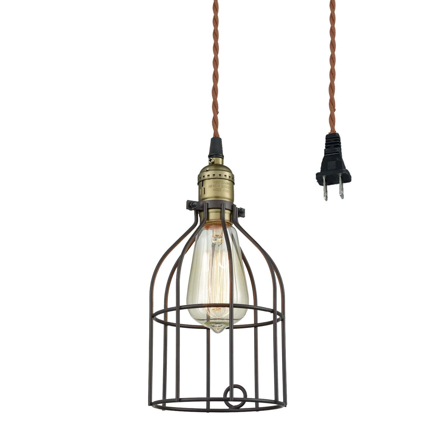Industrial Plug-In Pendant Light Bronze Finish with Bird Cage Shade