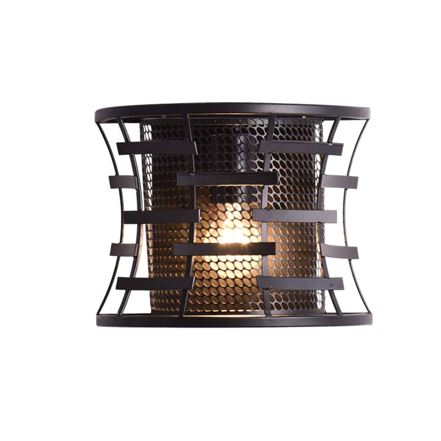 Industrial Wall Sconce with Metal Cage Shade Bronze Fixture