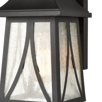 Outdoor Wall Lantern Black Finish with Seeded Glass Shade