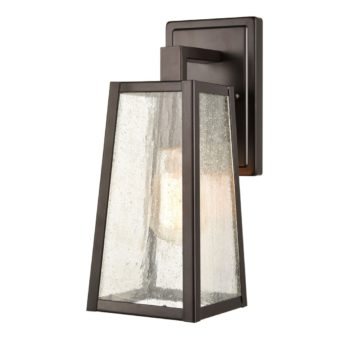 Rustic OutdoorWallSconce with Seeded Glass Shade