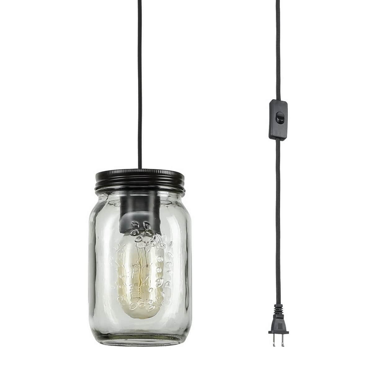 Industrial Mason Jar Plug-in Pendant Light Bronze Finish