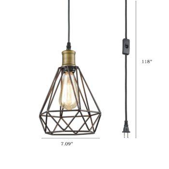 Farmhouse Plug-in Pendant Light Polygon Metal Wire Cage Shade