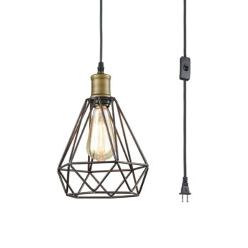 Farmhouse Plug-in Pendant Light Polygon Metal Wire Cage Shade